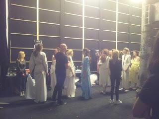 backstage at micheal lo sordo 2014 fashion week