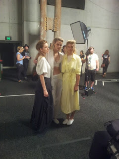 models pose backstage at michael lo sordo