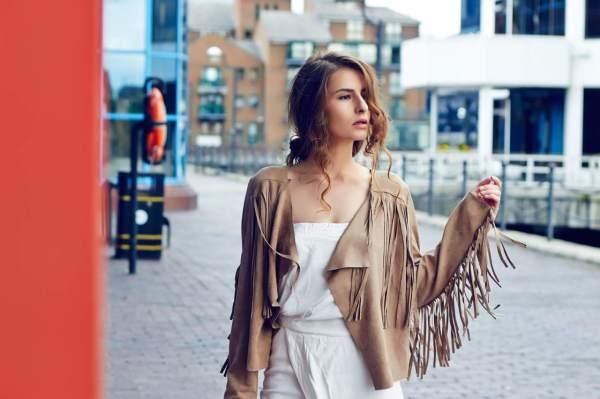 fringe suede jacket street style