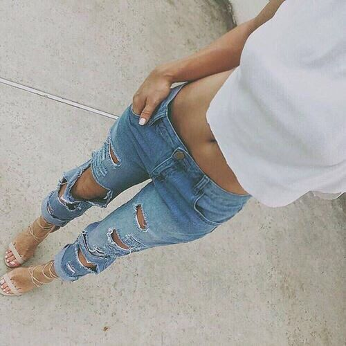 ripped boyfriend jeans and nude heels