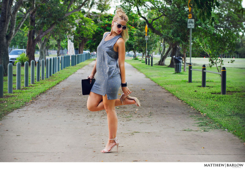 street style stella mccartney grey studded dress