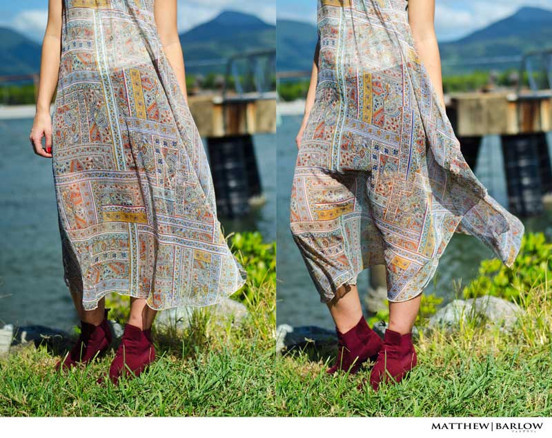 boho print dress styled with red velvet ankle boots