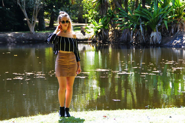 The Look: Striped Suedette