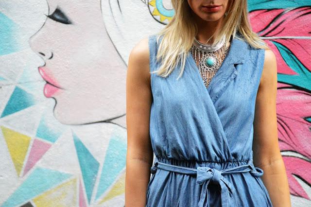 denim statement necklace