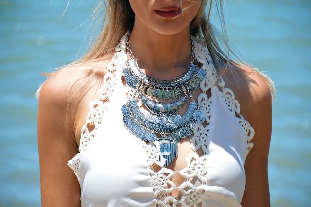 statement silver boho necklace