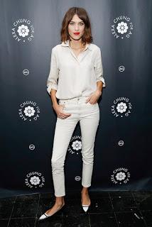 Alexa Chung White Jeans