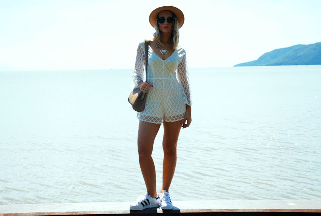 lace playsuit sneakers