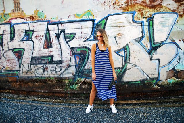 stripe maxi dress style