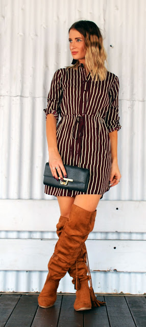 shirt dress knee boots