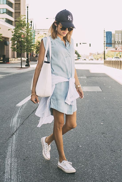 shirt dress sneakers