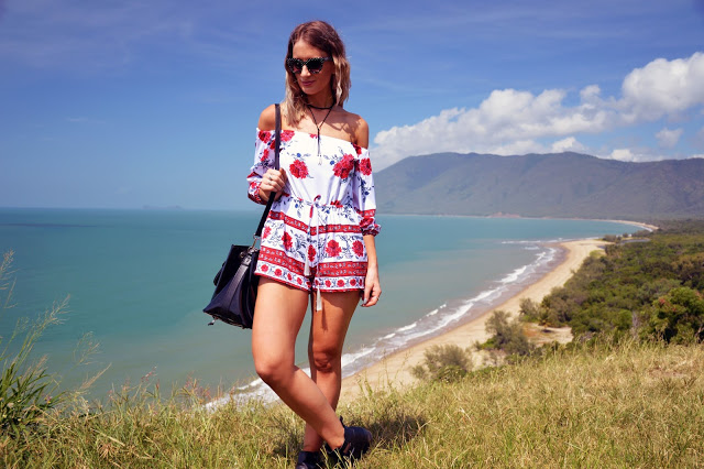 off shoulder floral playsuit