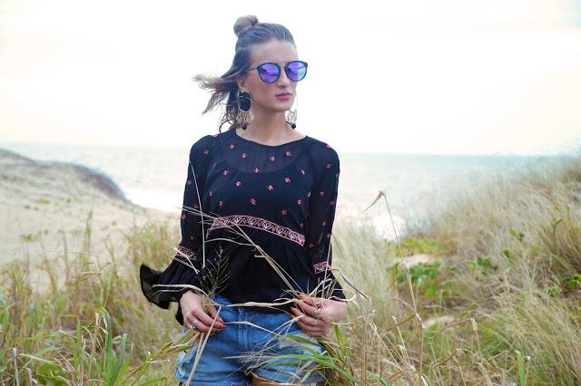 folk print blouse