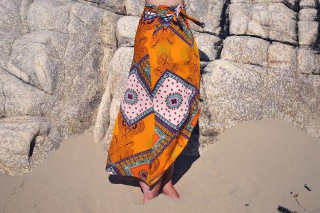 bohemian print wrap skirt