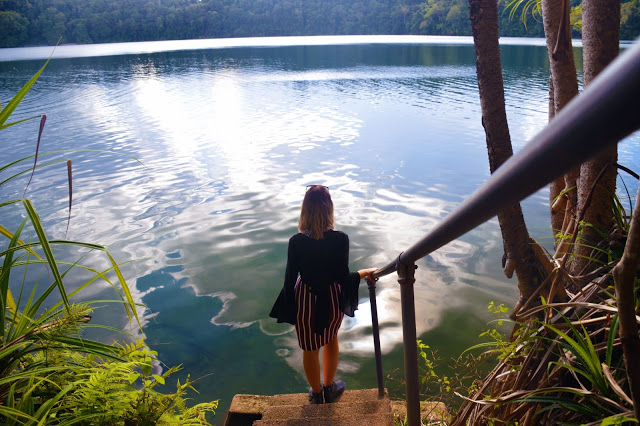 walking down the steps into lake eacham