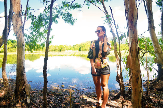 Cattana Wetlands Cairns fashion shoot wanderlust with tribal print romper