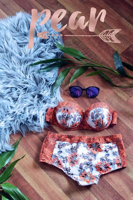 the best swimsuit for a pear shape body underwired boho print bikini flatlay sunglasses