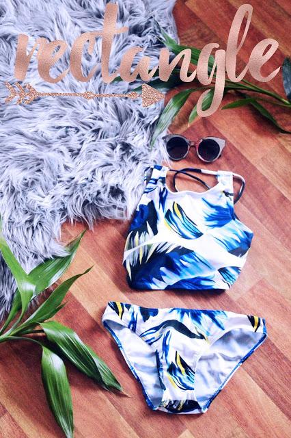 the best swimsuit for a rectangle shape body underwired boho print bikini flatlay sunglasses