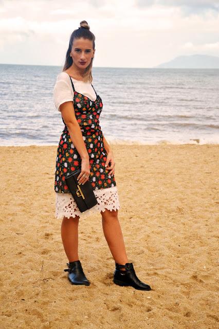vintage rose slip dress over tshirt boho beach style australia