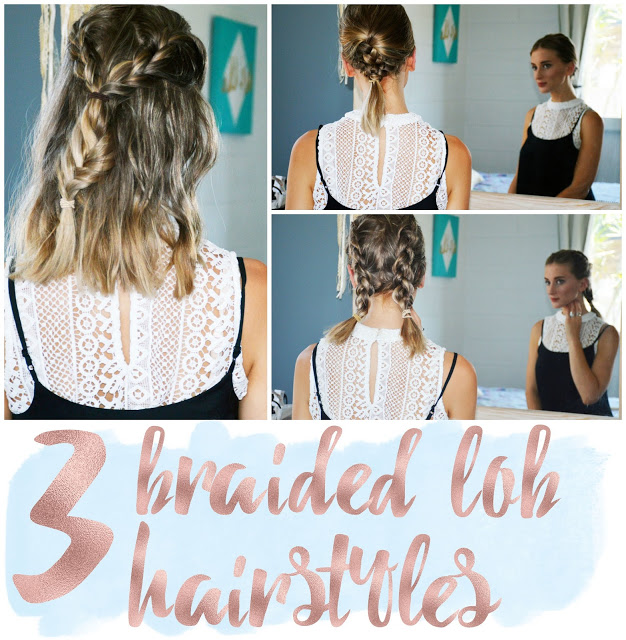 braided hairstyles for a lob or mid-length hair