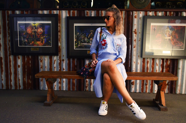 adidas sneakers with wrap fold skirt and stripe floral embroidered skirt Australian blogger style