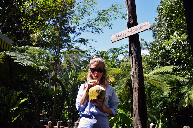 girl drinking coconut summer vacation tropical paradise