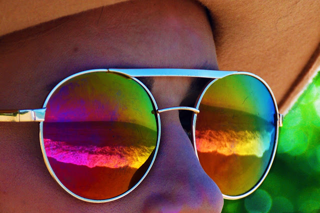sea reflected in sunglasses round rainbow boho sunglasses tumblr