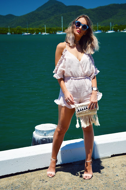 nude off shoulder ruffle playsuit from bardot. Australian summer look styled with fringe and shell clutch