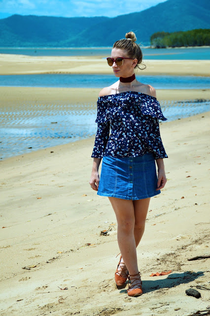 Summer blogger Australia outfit floral off shoulder top with button up denim skirt and red velvet choker
