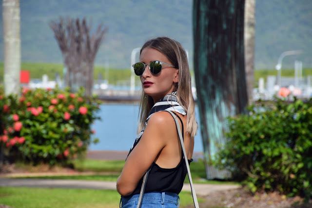minimalist accessories mirrored sunglasses silk scarf circle earrings