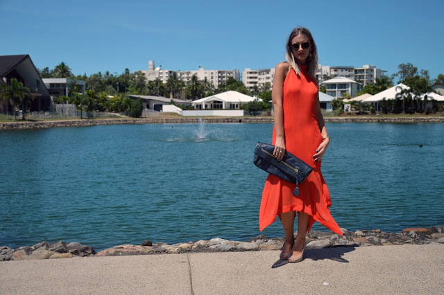 orange midi dress outfit idea summer street style