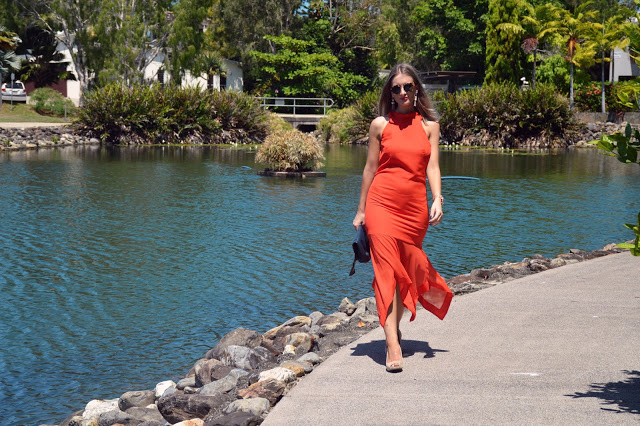 orange dress outfit idea summer australia