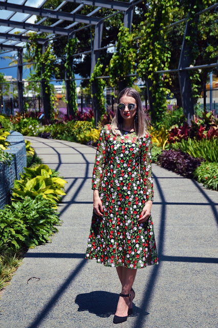 embroidered floral midi dress outfit idea dolce & gabbana inspired