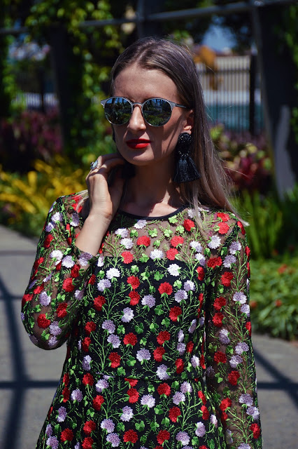 dolce & gabbana look for less tassel earrings floral embroidered dress