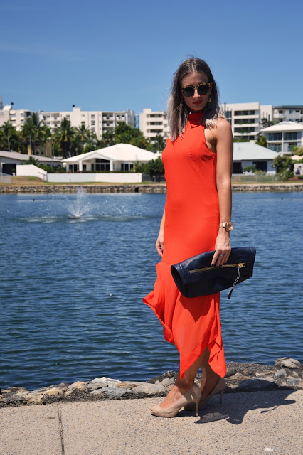 summer orange dress outfit idea