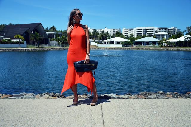 summer outfit orange midi dress with hanky hem