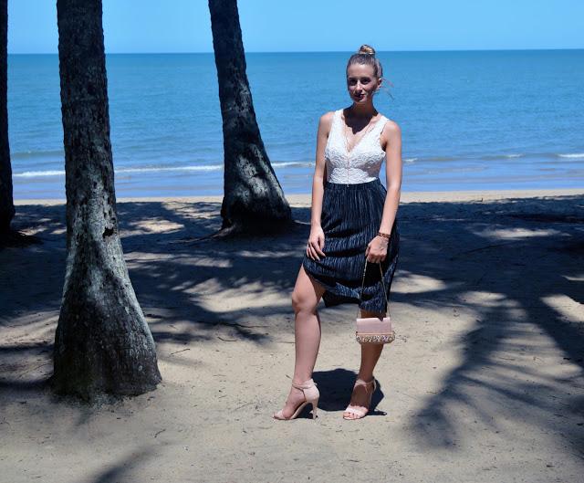 pleated midi skirt outfit idea summer