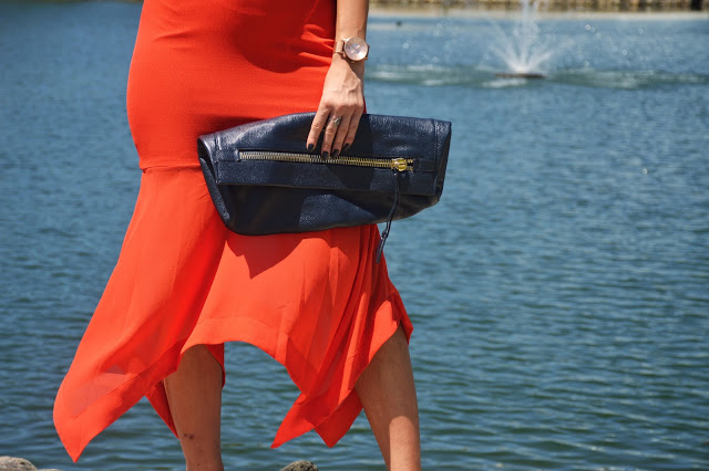 fold over oversized dark navy clutch eveningwear