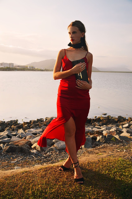 red slip dress outfit idea christmas