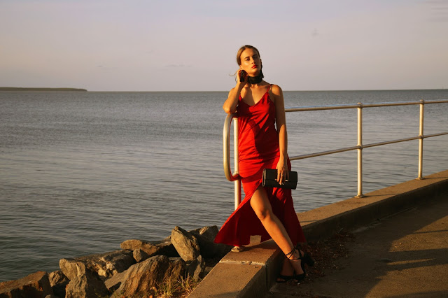 how to style a red slip dress outfit idea