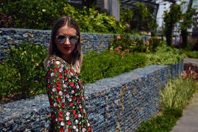 embroidered dress street style outfit idea with mirrored sunglasses