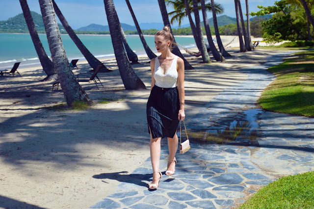 nude and black lace summer party outfit