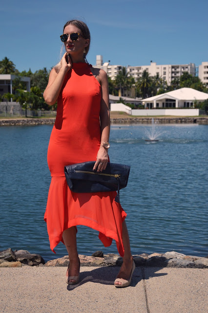 orange dress outfit idea street style midi dress