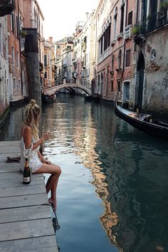 girl next to venice canal wanderlust