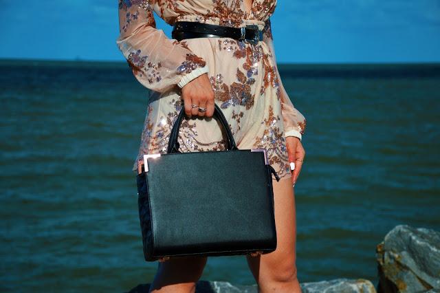 black and rose gold classic handbag Oliver Bilou