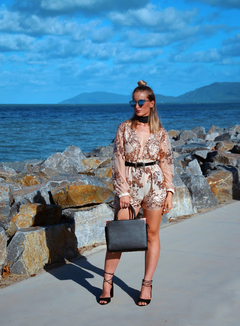 party look sequin embellished playsuit with choker and lace up heels