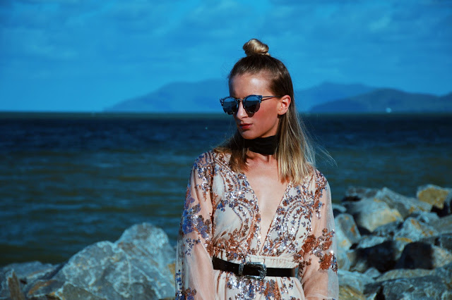 plunging sequin playsuit western belt marble sunglasses black choker