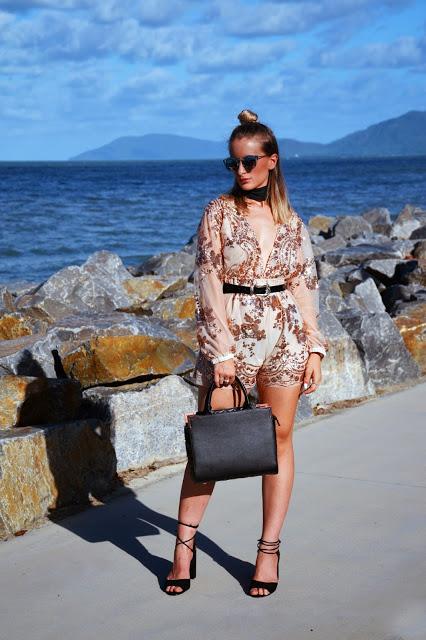 blogger style embellished boho playsuit and choker