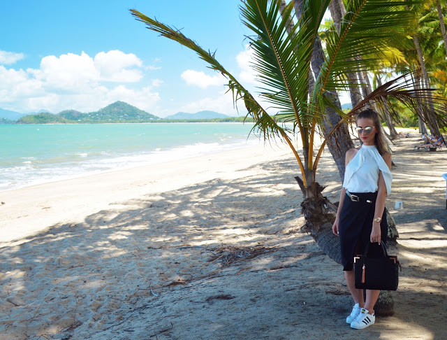 formal summer look white top black skirt adidas superstars