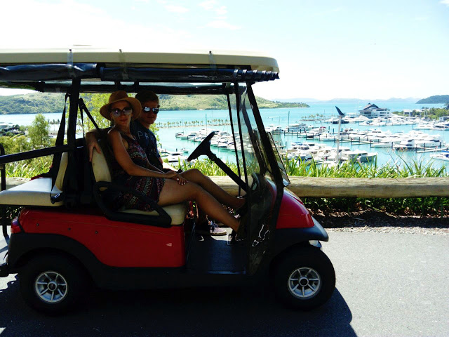 driving in a golf buggy on hamilton island