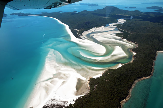 birdseye view of whitehaven beach from above scenic flight